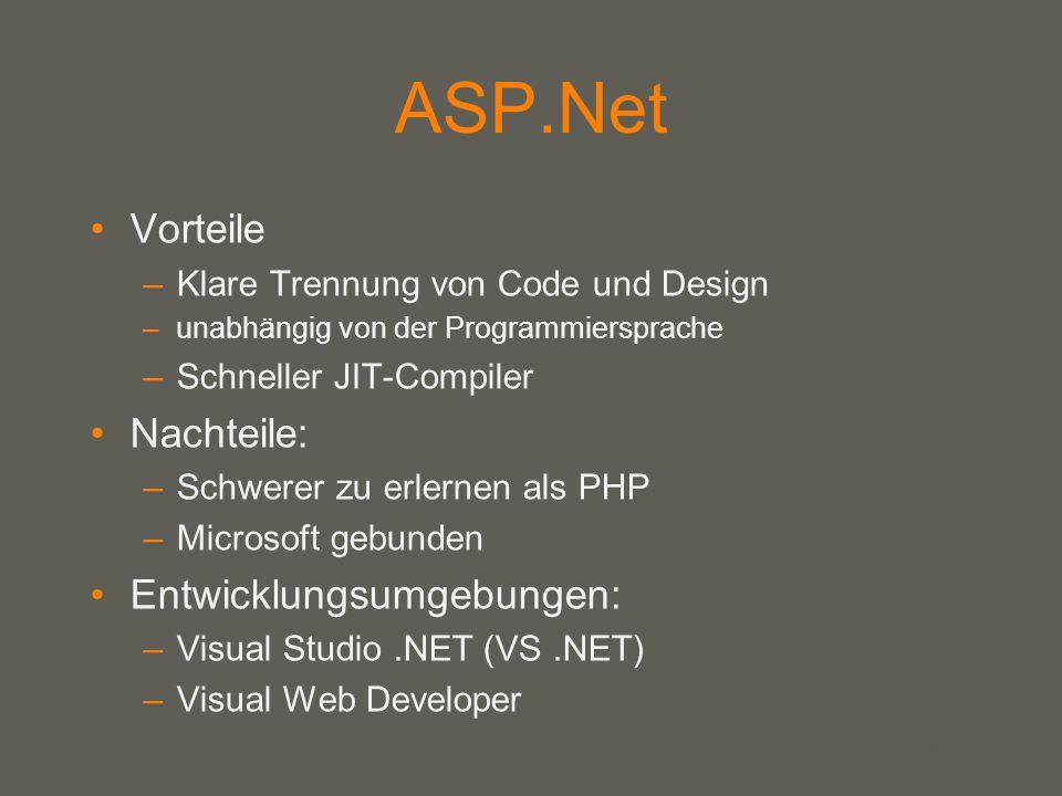 ASP.Net Vorteile Nachteile: Entwicklungsumgebungen: