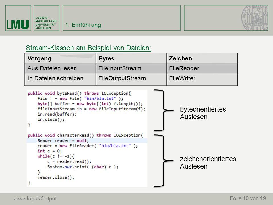Stream-Klassen am Beispiel von Dateien: