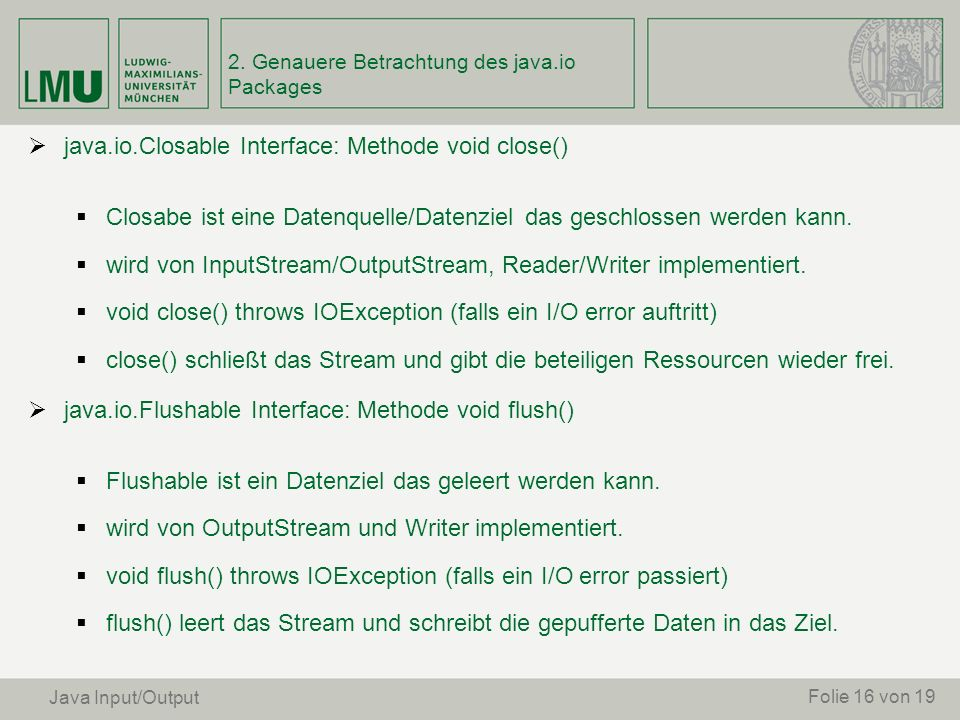 2. Genauere Betrachtung des java.io Packages