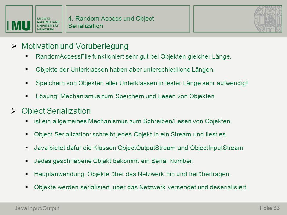 4. Random Access und Object Serialization