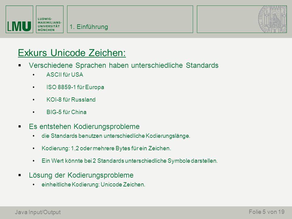 Exkurs Unicode Zeichen: