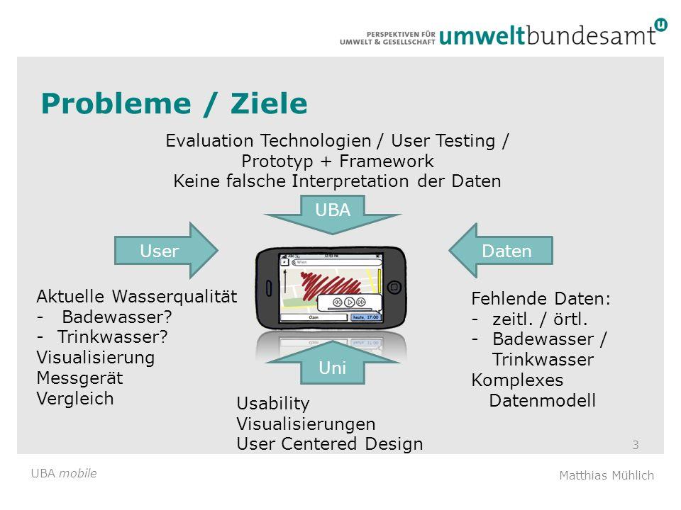 Probleme / Ziele Evaluation Technologien / User Testing / Prototyp + Framework. Keine falsche Interpretation der Daten.