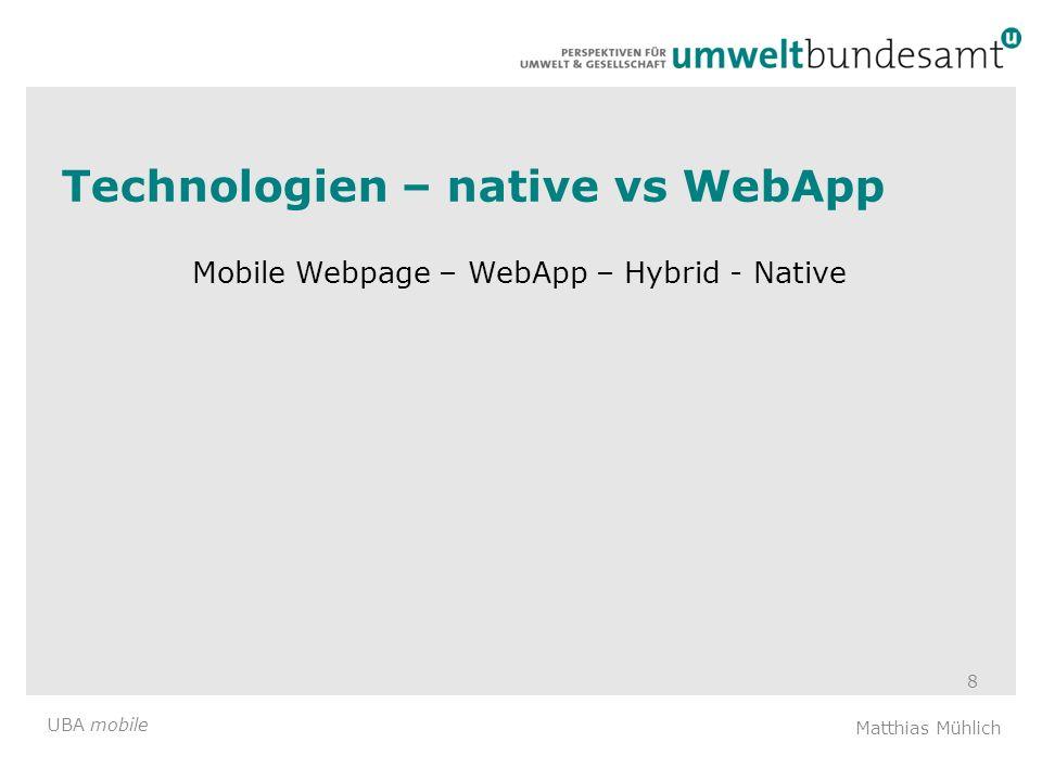 Technologien – native vs WebApp