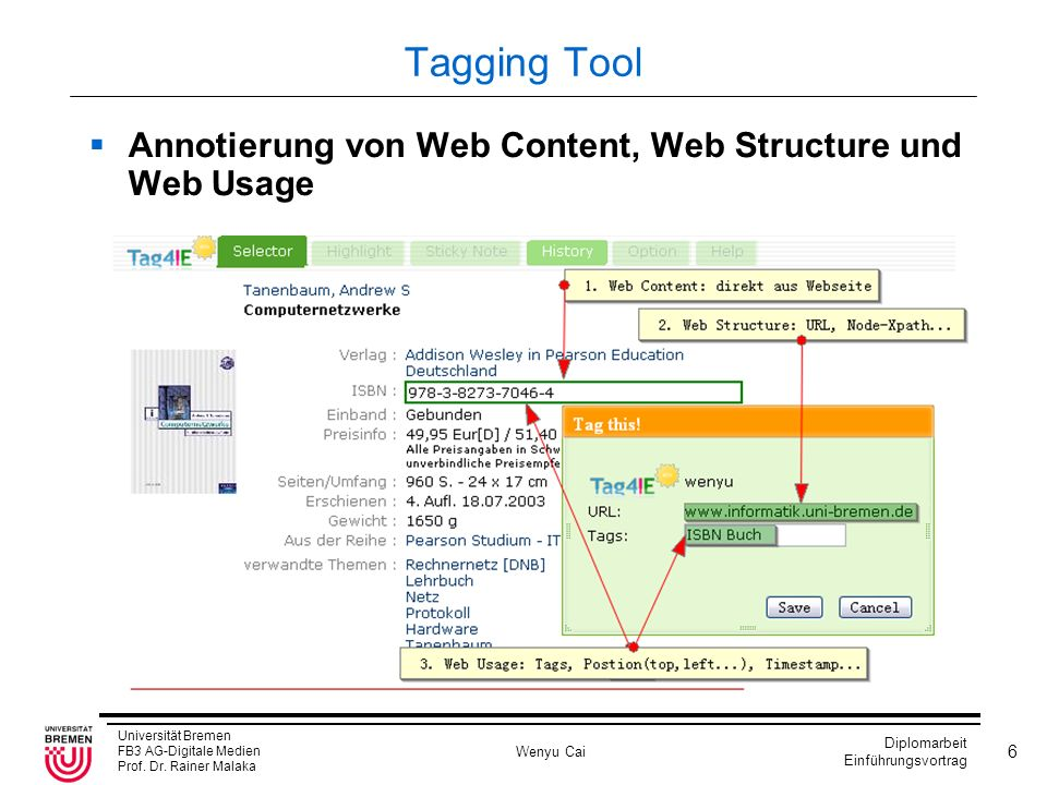 Tagging Tool Annotierung von Web Content, Web Structure und Web Usage