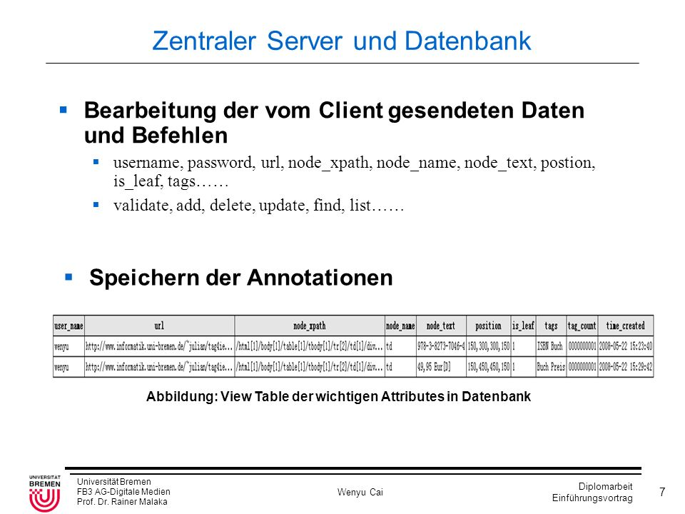 Zentraler Server und Datenbank