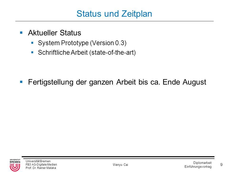 Status und Zeitplan Aktueller Status