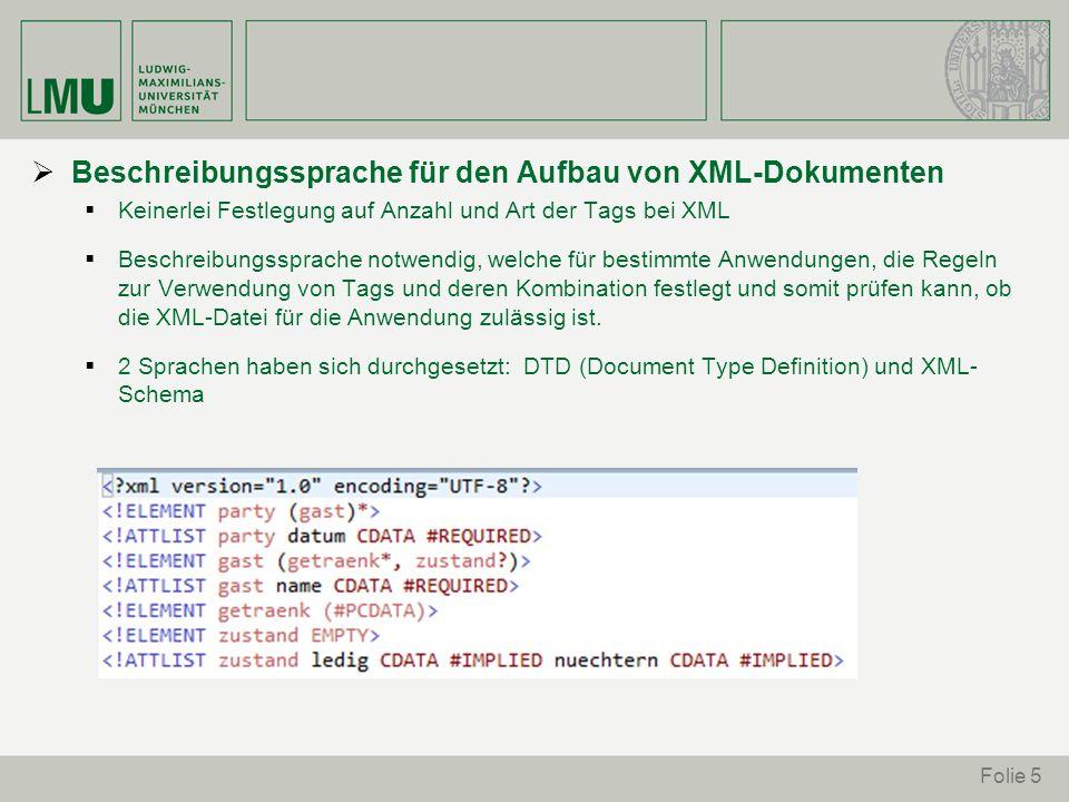 Beschreibungssprache für den Aufbau von XML-Dokumenten