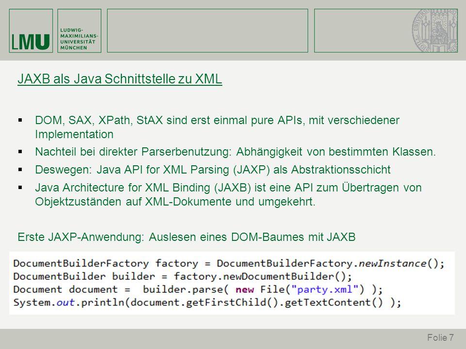 JAXB als Java Schnittstelle zu XML