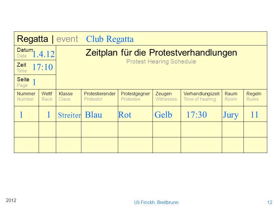 Zeitplan für die Protestverhandlungen Club Regatta