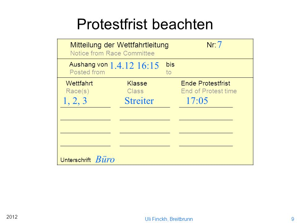 Protestfrist beachten