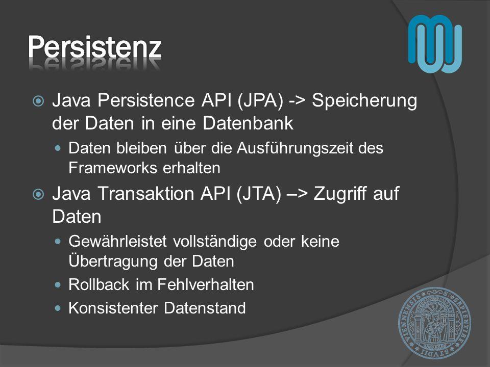 Persistenz Java Persistence API (JPA) -> Speicherung der Daten in eine Datenbank. Daten bleiben über die Ausführungszeit des Frameworks erhalten.