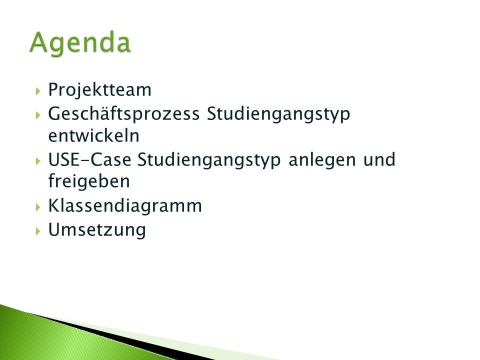 Agenda Projektteam Geschäftsprozess Studiengangstyp entwickeln