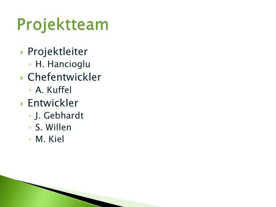 Projektteam Projektleiter Chefentwickler Entwickler H. Hancioglu
