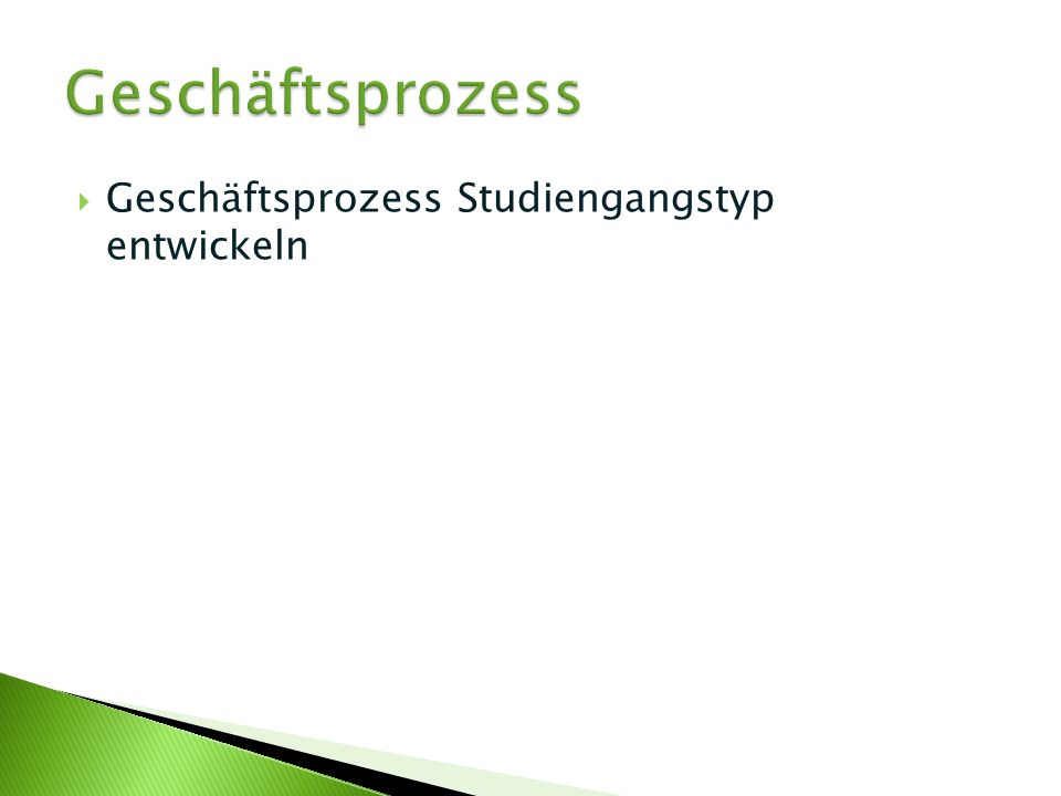Geschäftsprozess Geschäftsprozess Studiengangstyp entwickeln