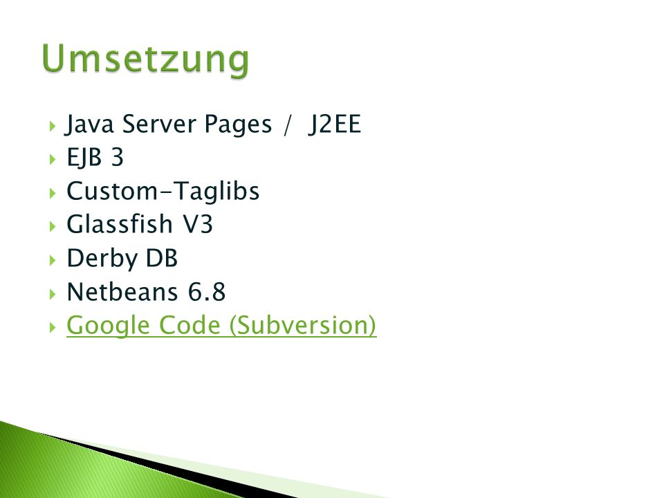 Umsetzung Java Server Pages / J2EE EJB 3 Custom-Taglibs Glassfish V3