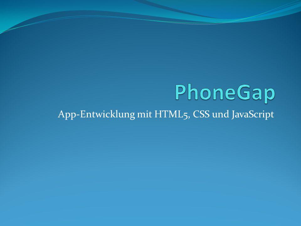 App-Entwicklung mit HTML5, CSS und JavaScript