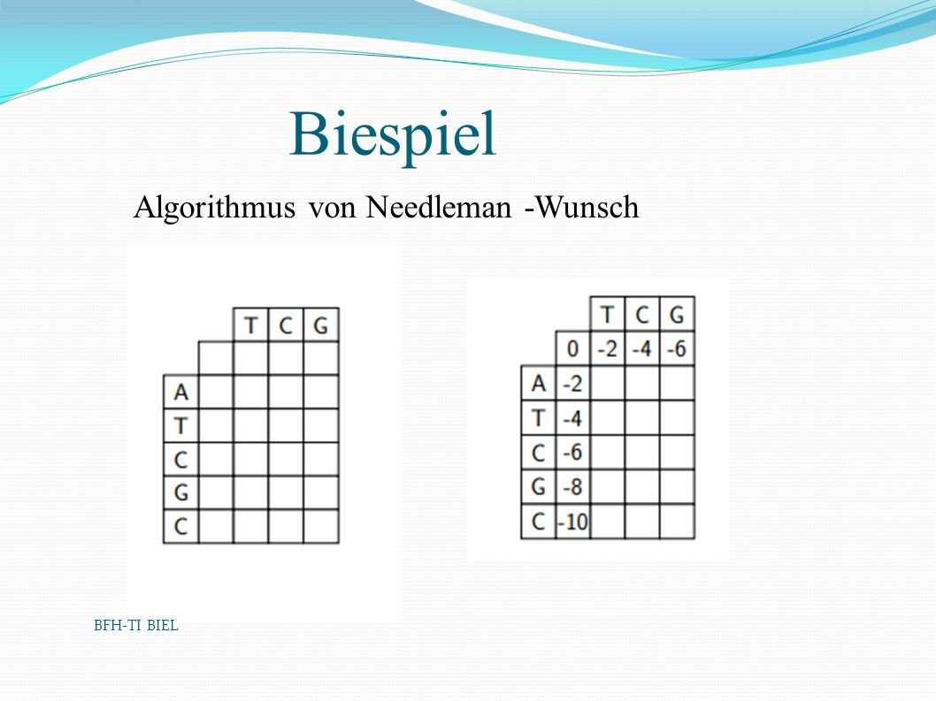 BFH-TI BIEL Biespiel Algorithmus von Needleman -Wunsch BFH-TI BIEL