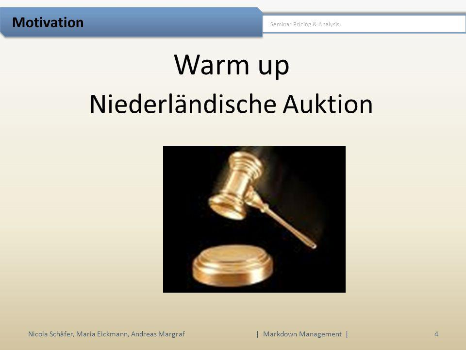 Warm up Niederländische Auktion Motivation