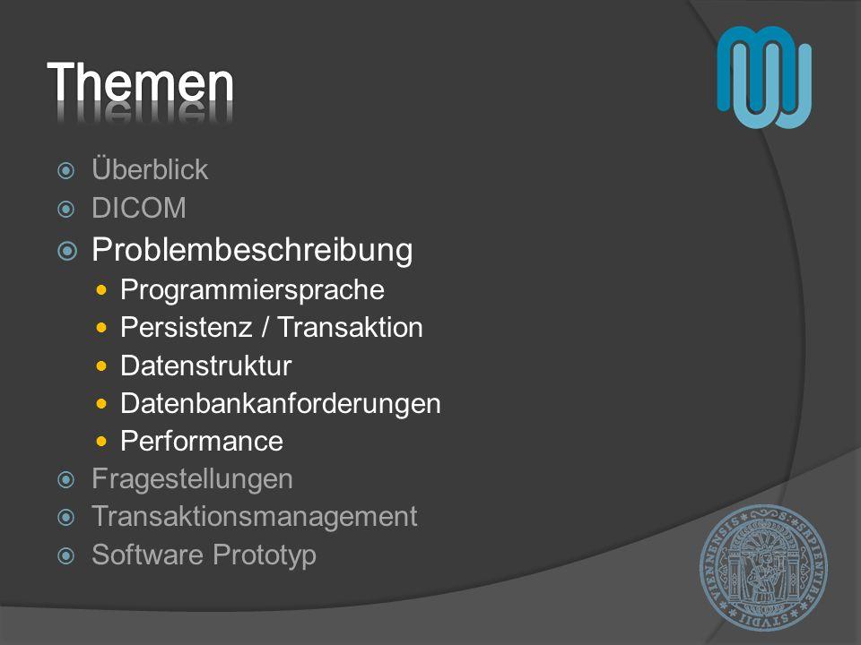 Themen Problembeschreibung Überblick DICOM Programmiersprache