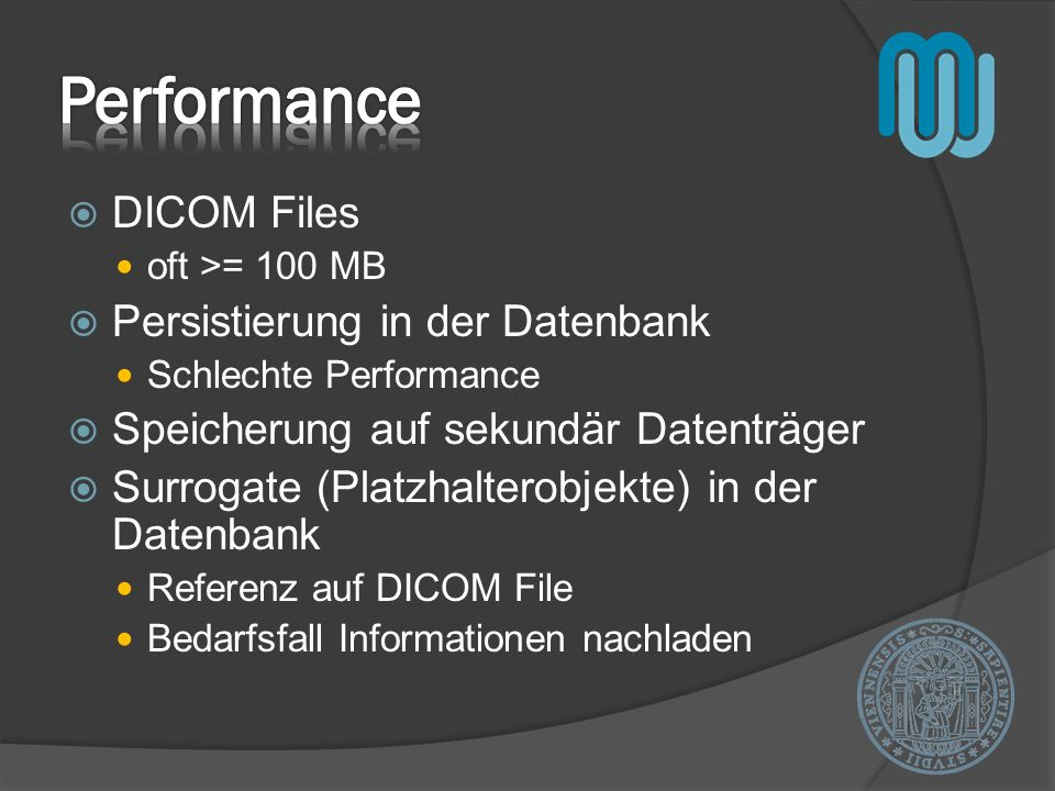 Performance DICOM Files Persistierung in der Datenbank