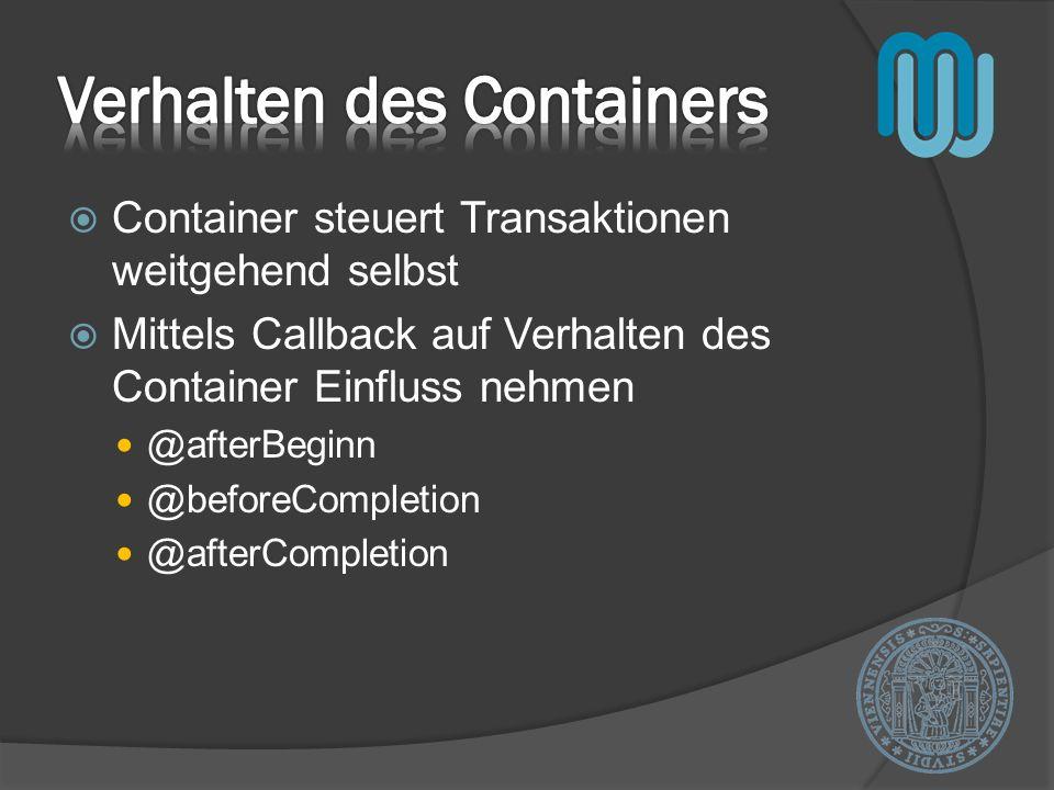 Verhalten des Containers