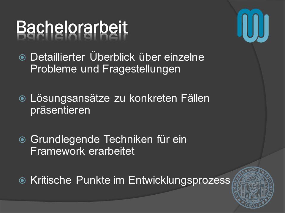 Bachelorarbeit Detaillierter Überblick über einzelne Probleme und Fragestellungen. Lösungsansätze zu konkreten Fällen präsentieren.