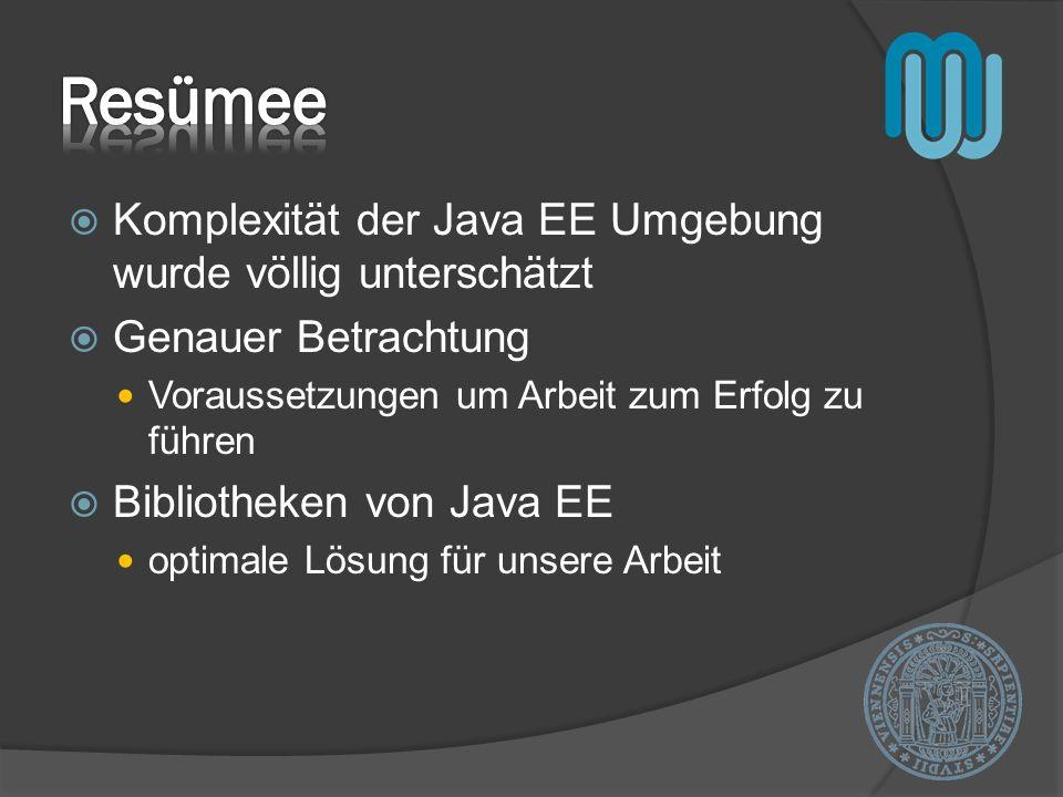 Resümee Komplexität der Java EE Umgebung wurde völlig unterschätzt