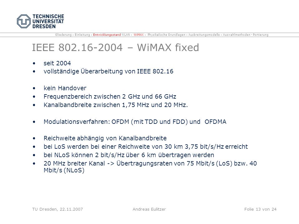 IEEE – WiMAX fixed seit 2004