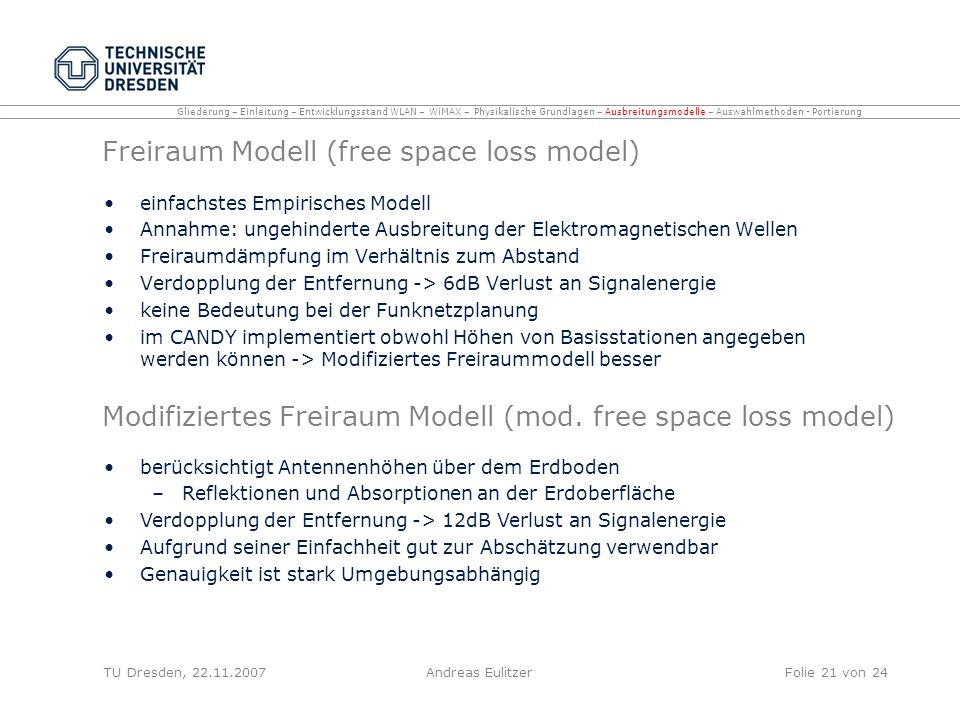 Freiraum Modell (free space loss model)