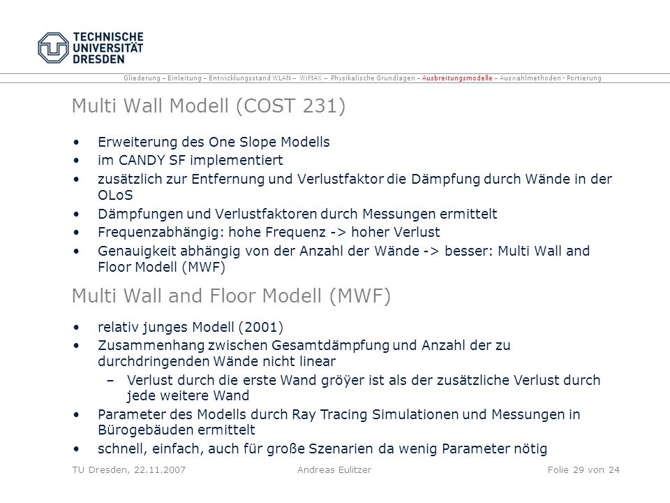 Multi Wall Modell (COST 231)