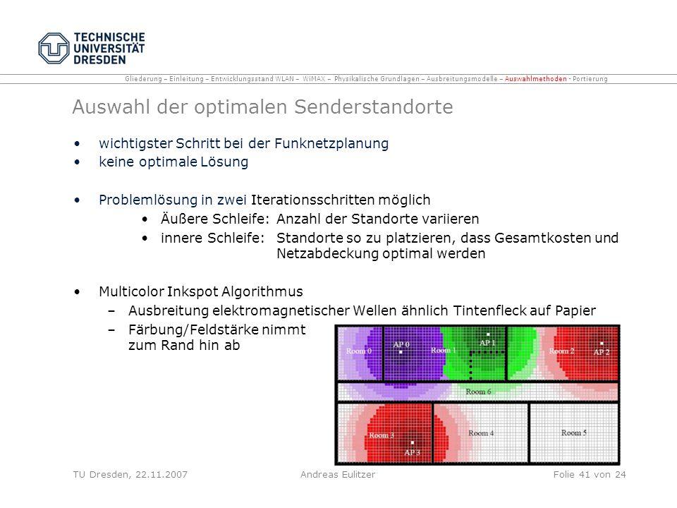 Auswahl der optimalen Senderstandorte