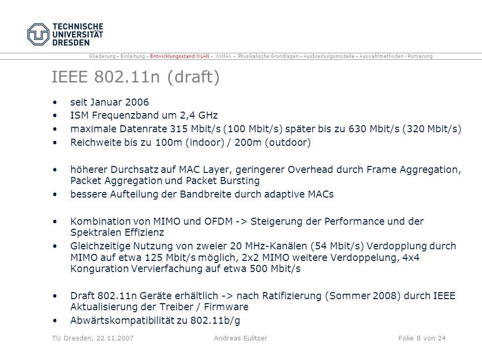 IEEE 802.11n (draft) seit Januar 2006 ISM Frequenzband um 2,4 GHz