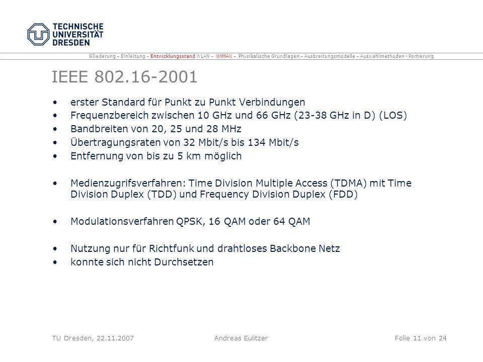 IEEE 802.16-2001 erster Standard für Punkt zu Punkt Verbindungen