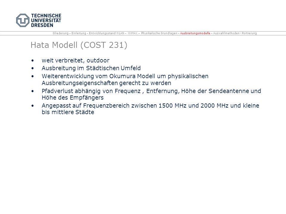 Hata Modell (COST 231) weit verbreitet, outdoor