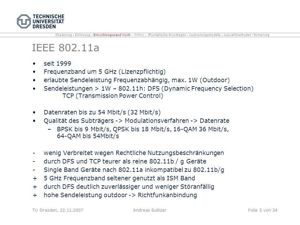 IEEE 802.11a seit 1999 Frequenzband um 5 GHz (Lizenzpflichtig)