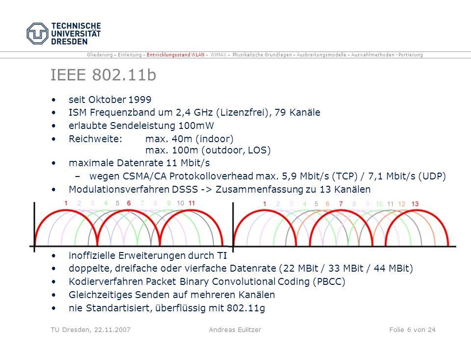 Gliederung – Einleitung – Entwicklungsstand WLAN – WiMAX – Physikalische Grundlagen – Ausbreitungsmodelle – Auswahlmethoden - Portierung