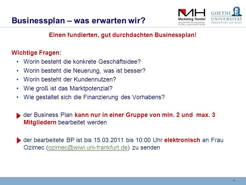 Formale Gestaltung des Businessplans