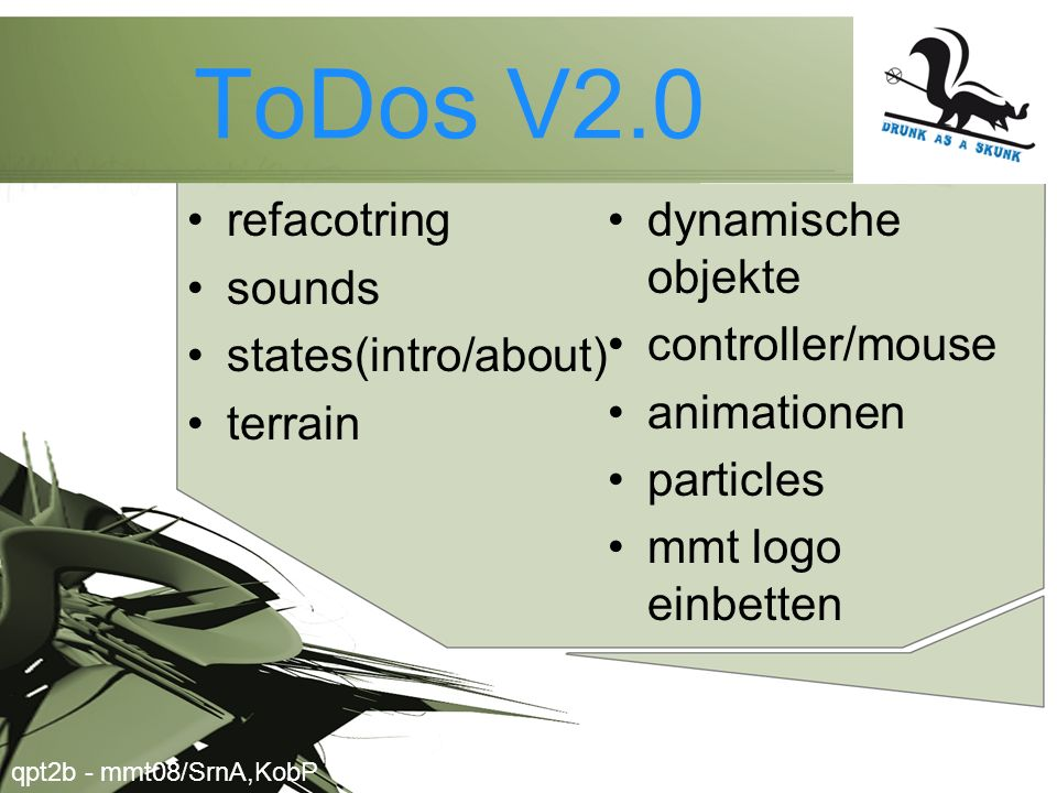 ToDos V2.0 refacotring dynamische objekte sounds controller/mouse