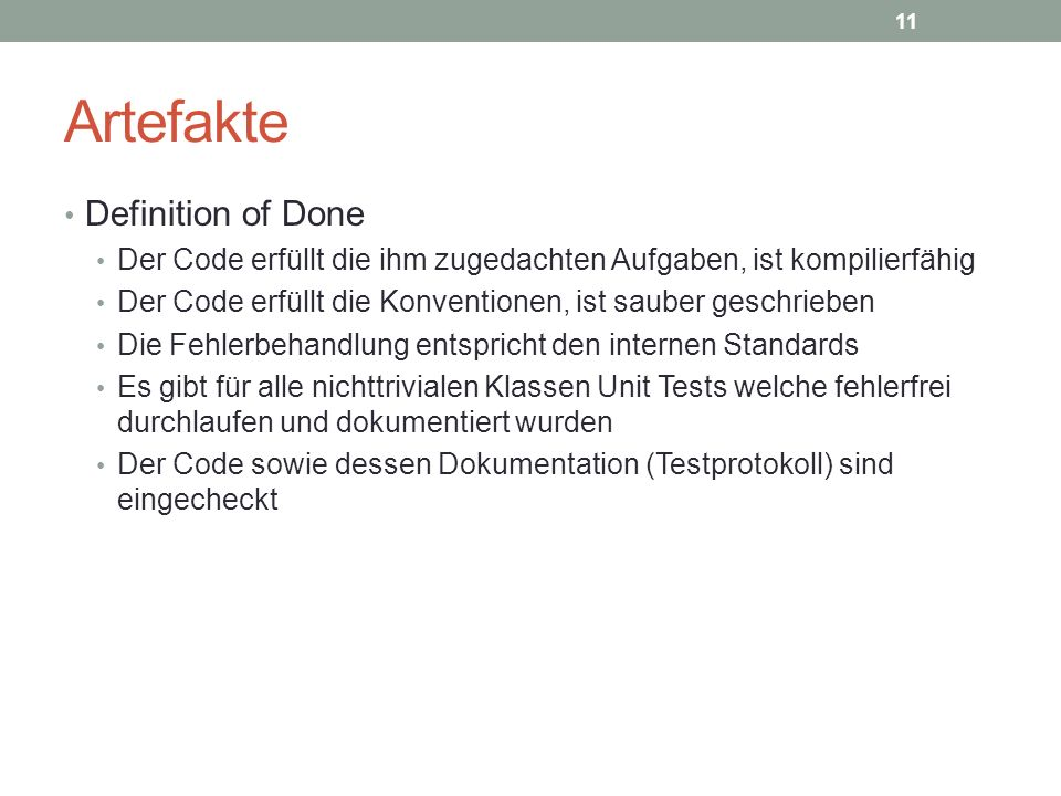 Artefakte Definition of Done