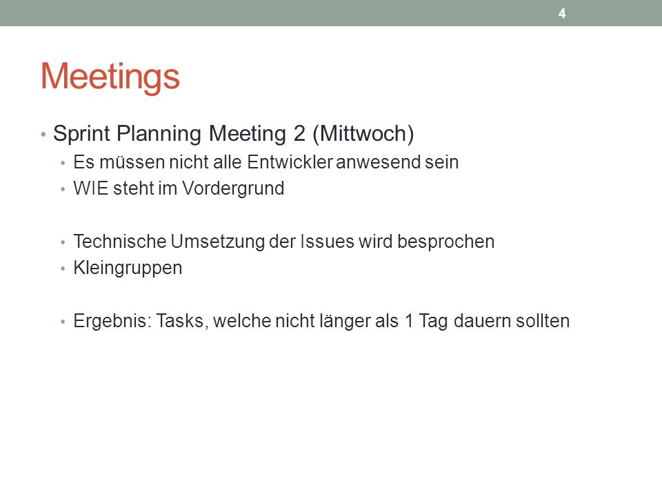 Meetings Sprint Planning Meeting 2 (Mittwoch)
