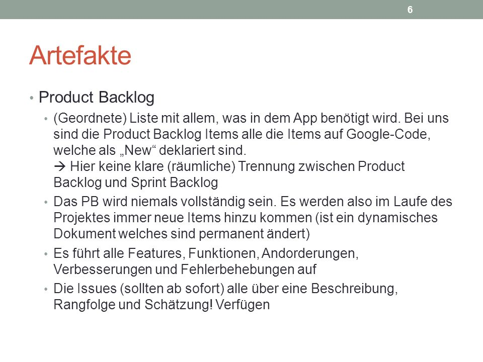 Artefakte Product Backlog