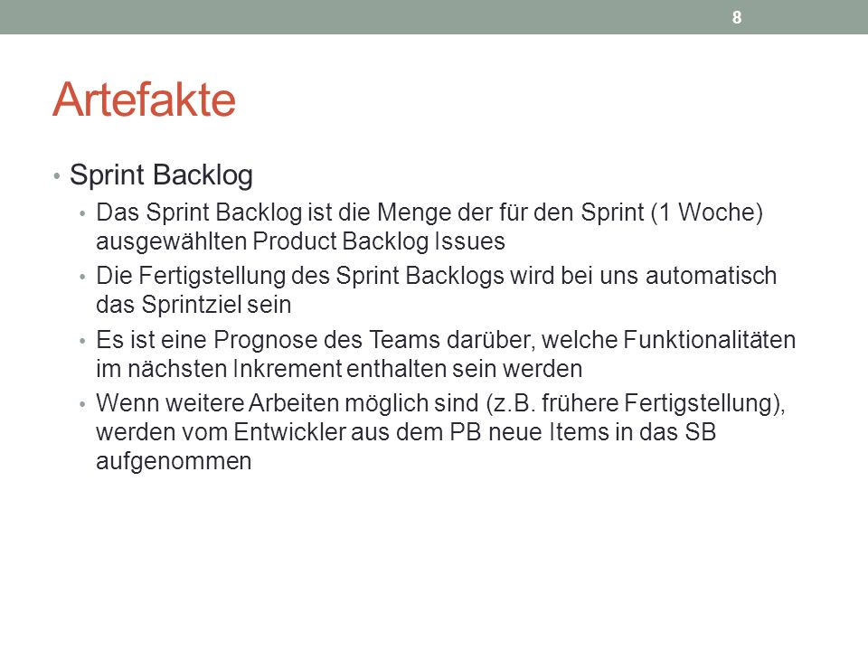 Artefakte Sprint Backlog