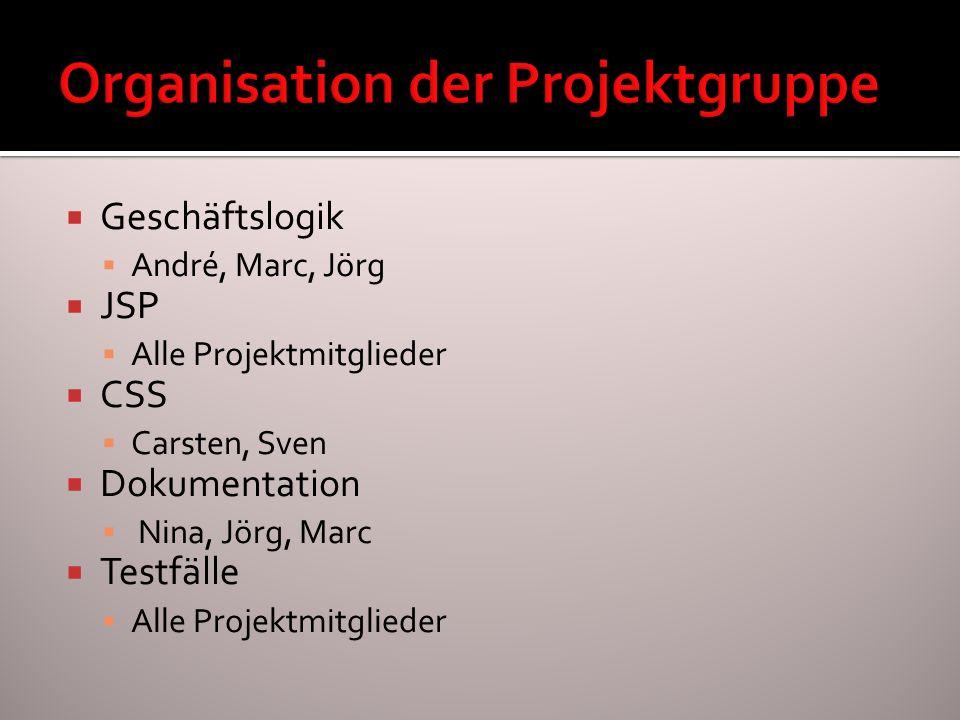 Organisation der Projektgruppe