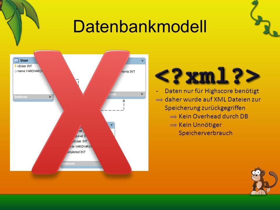X Datenbankmodell Daten nur für Highscore benötigt