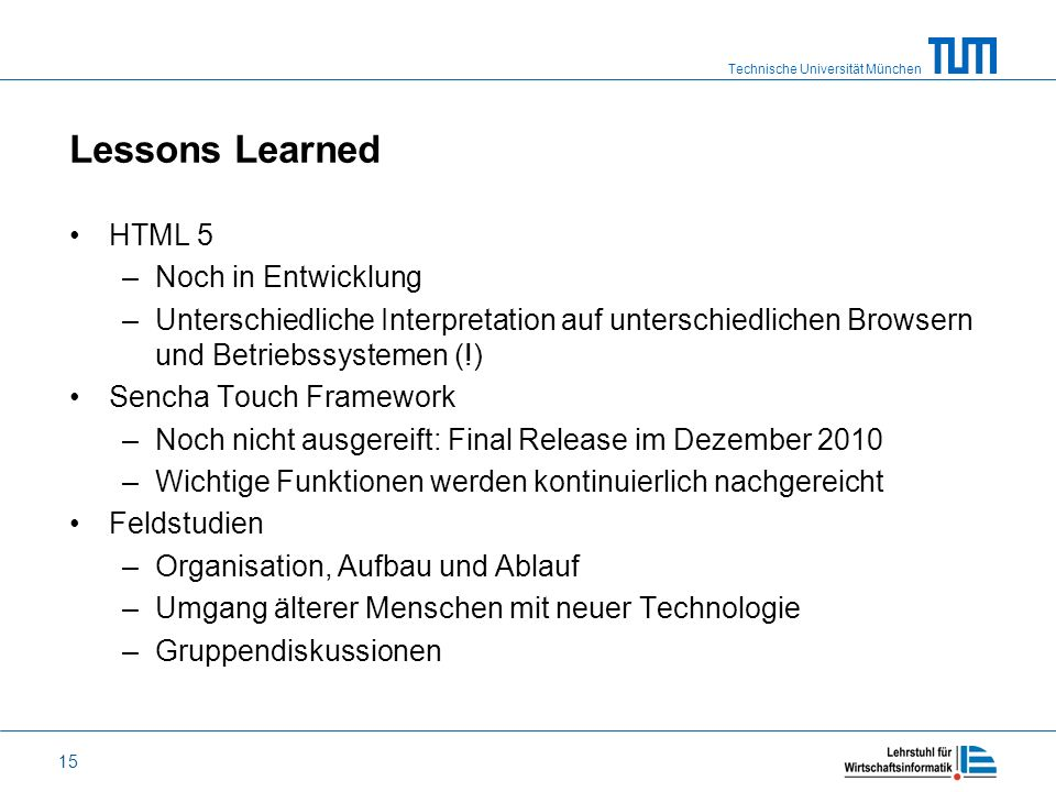 Lessons Learned HTML 5 Noch in Entwicklung