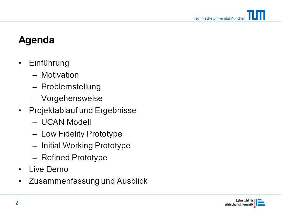 Agenda Einführung Motivation Problemstellung Vorgehensweise
