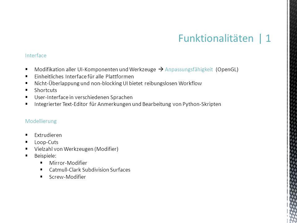 Funktionalitäten | 1 Interface