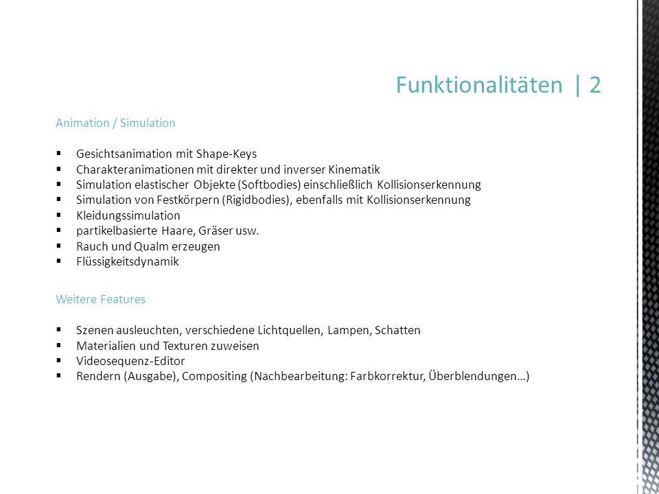 Funktionalitäten | 2 Animation / Simulation