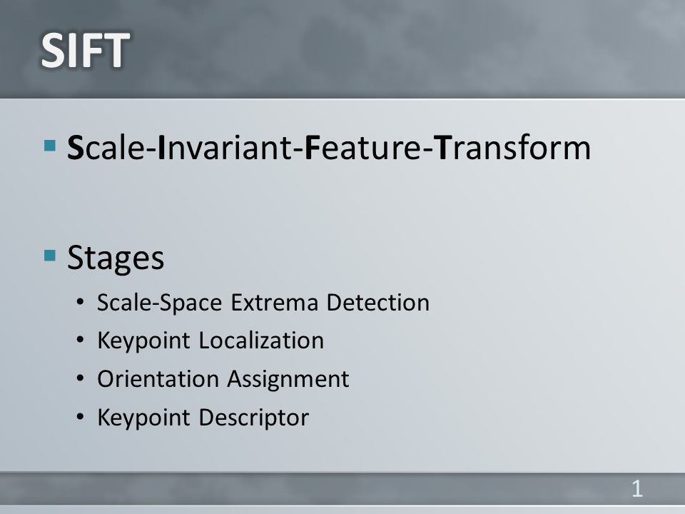 SIFT Scale-Invariant-Feature-Transform Stages