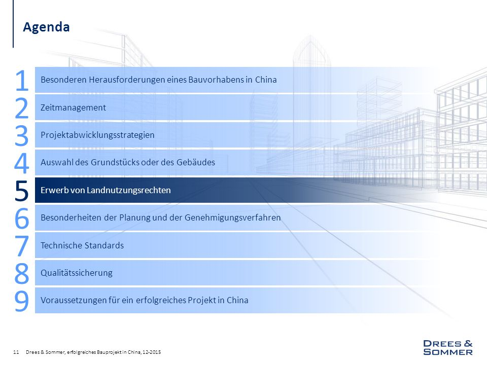 Agenda Besonderen Herausforderungen eines Bauvorhabens in China. 1. Zeitmanagement. 2. Projektabwicklungsstrategien.